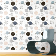 Planets Peel and Stick Wallpaper tan roomset 3