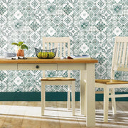 Mediterranean Tile Peel and Stick Wallpaper teal roomset