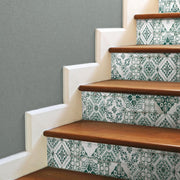 Mediterranean Tile Peel and Stick Wallpaper teal roomset 3
