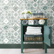 Mediterranean Tile Peel and Stick Wallpaper teal roomset 4