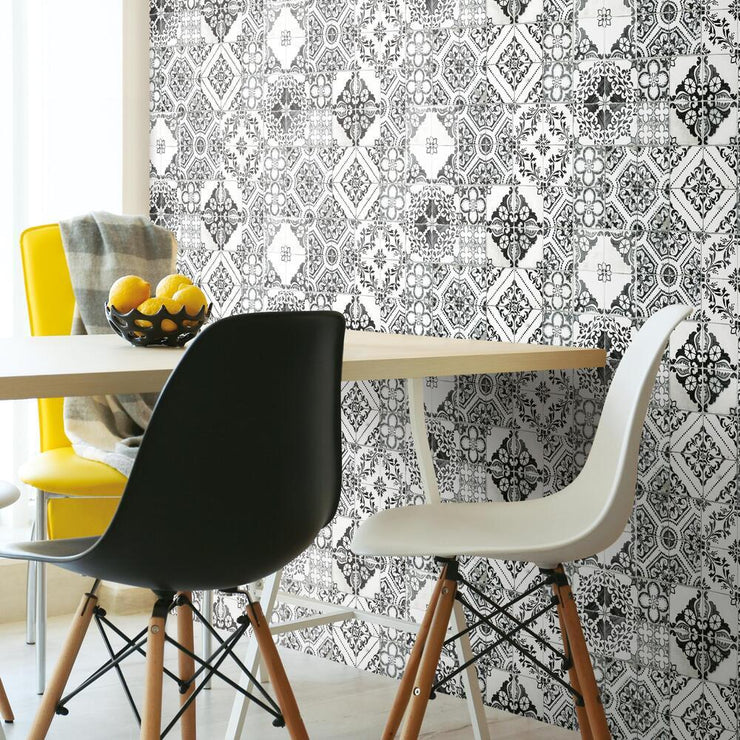 Mediterranean Tile Peel and Stick Wallpaper black roomset