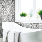 Mediterranean Tile Peel and Stick Wallpaper black roomset 2