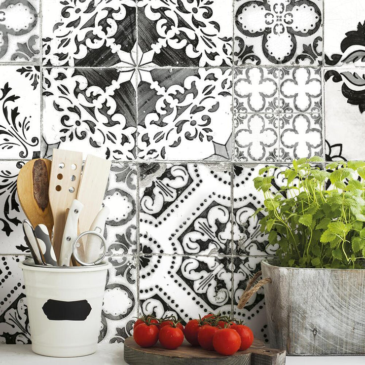 Mediterranean Tile Peel and Stick Wallpaper black roomset 4