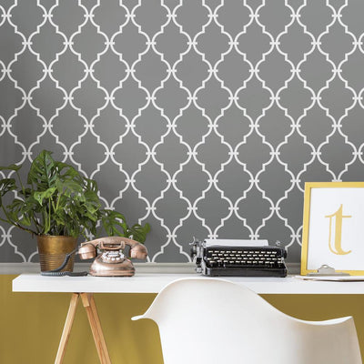 RMK11288WP Gray Trellis Peel And Stick Wallpaper RS2