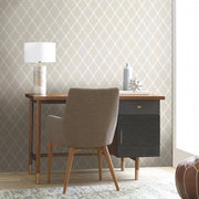 RMK11289WP Beige Trellis Peel And Stick Wallpaper RS4