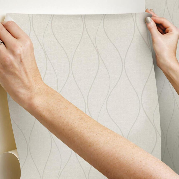 Wave Ogee Peel and Stick Wallpaper beige hang