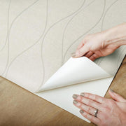 Wave Ogee Peel and Stick Wallpaper beige peel