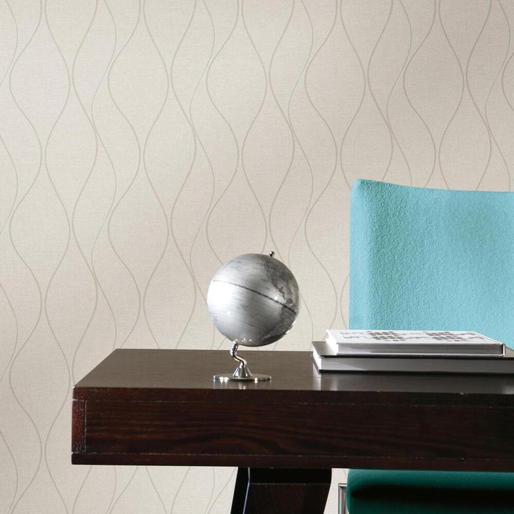 Wave Ogee Peel and Stick Wallpaper beige roomset 3