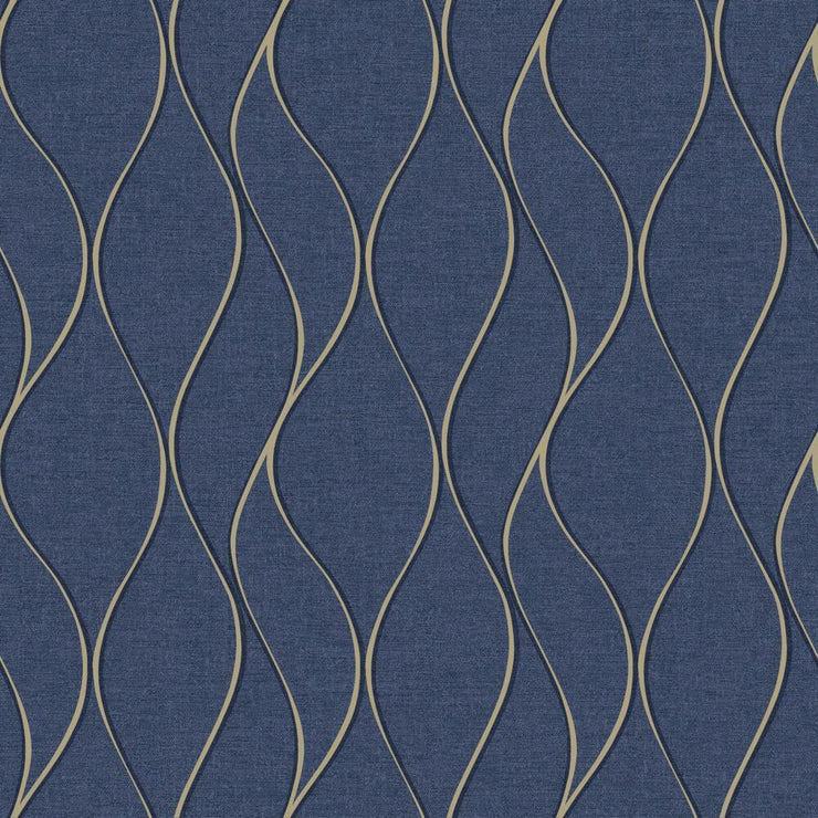 Wave Ogee Peel and Stick Wallpaper navy