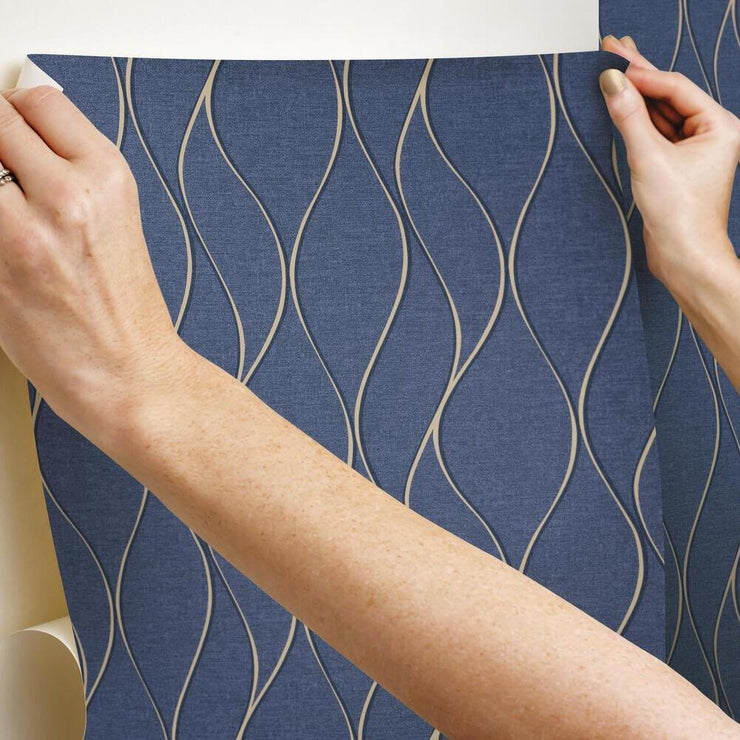 Wave Ogee Peel and Stick Wallpaper navy hang