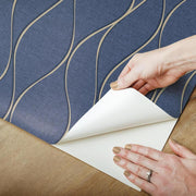 Wave Ogee Peel and Stick Wallpaper navy peel
