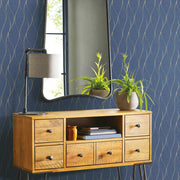 Wave Ogee Peel and Stick Wallpaper navy roomset 3