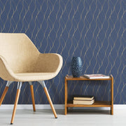 Wave Ogee Peel and Stick Wallpaper navy roomset