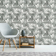Gingko Leaves Peel and Stick Wallpaper black roomset 2