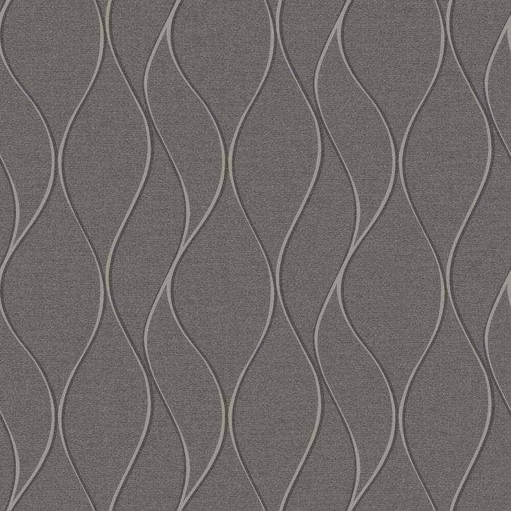 Wave Ogee Peel and Stick Wallpaper gray