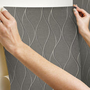 Wave Ogee Peel and Stick Wallpaper gray hang