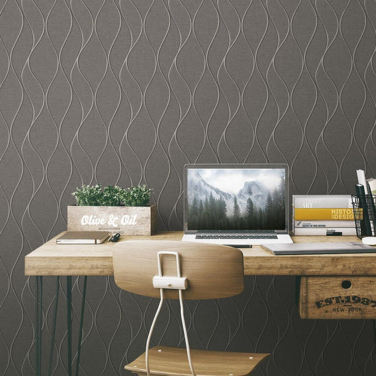 Wave Ogee Peel and Stick Wallpaper gray roomset 3