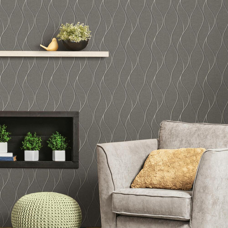 Wave Ogee Peel and Stick Wallpaper gray roomset 2