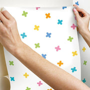 X Marks the Spot Peel and Stick Wallpaper multicolor hang