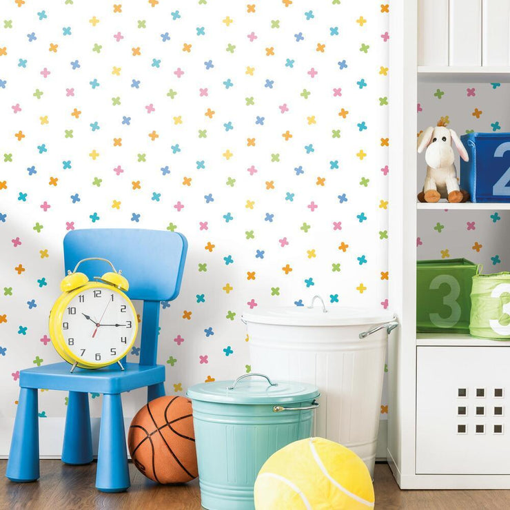 X Marks the Spot Peel and Stick Wallpaper multicolor roomset 2