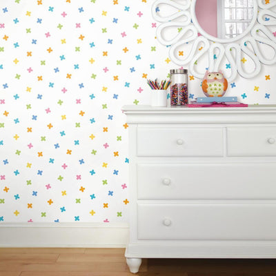 X Marks the Spot Peel and Stick Wallpaper multicolor roomset 3