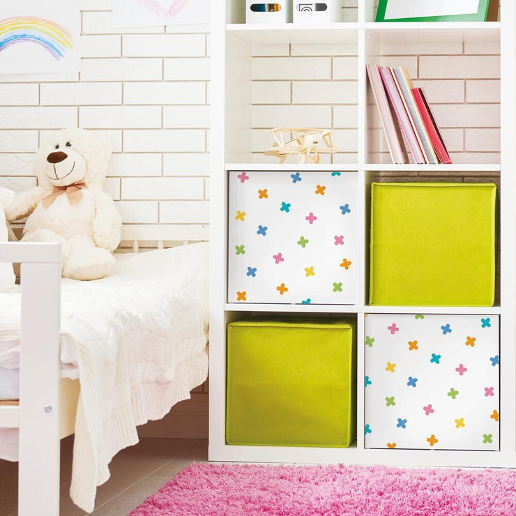 X Marks the Spot Peel and Stick Wallpaper multicolor roomset 4