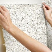 Terrazzo Peel and Stick Wallpaper black hang