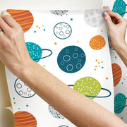 Planets Peel and Stick Wallpaper multicolor hang