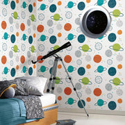 Planets Peel and Stick Wallpaper multicolor roomset 2