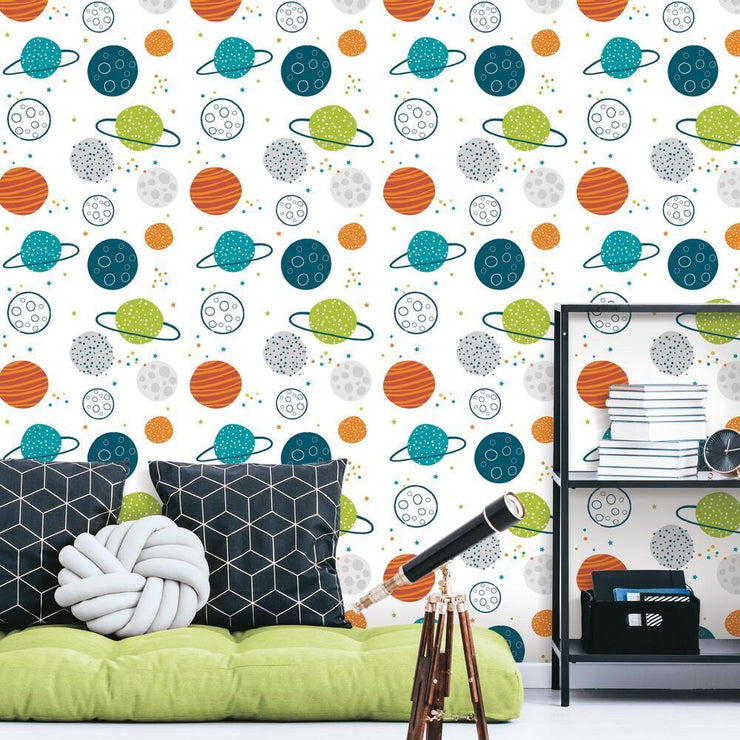 Planets Peel and Stick Wallpaper multicolor roomset