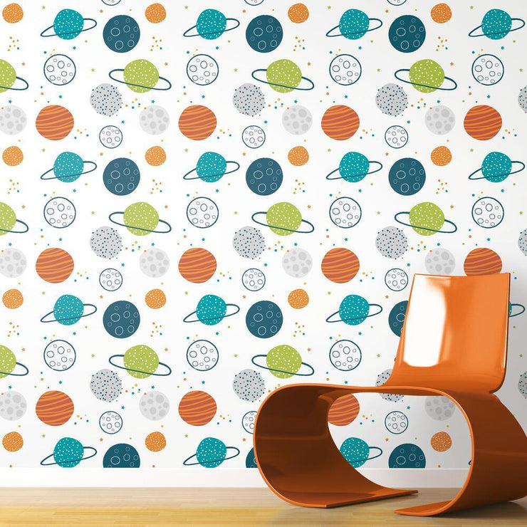 Planets Peel and Stick Wallpaper multicolor roomset 3