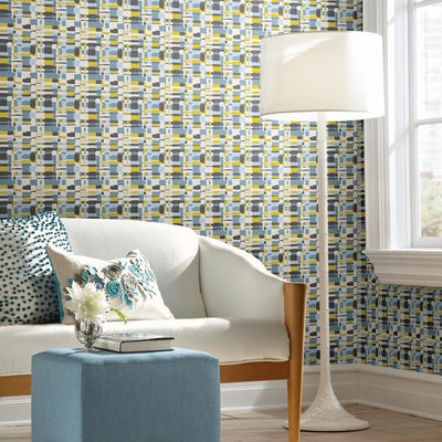 Retro Plaid Peel and Stick Wallpaper roomset