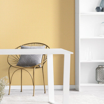 Caning Peel and Stick Wallpaper yellow roomset