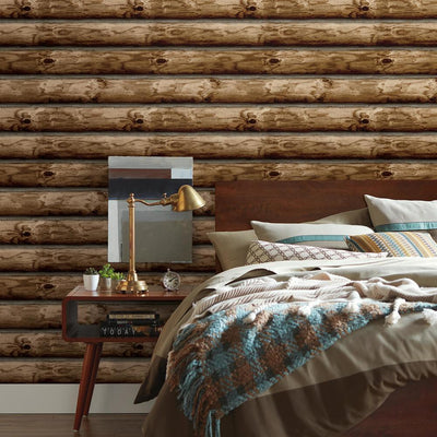 Cabin Logs Peel and Stick Wallpaper roomset
