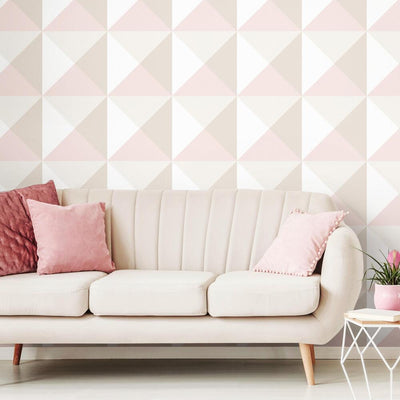 Origami Peel and Stick Wallpaper pink roomset