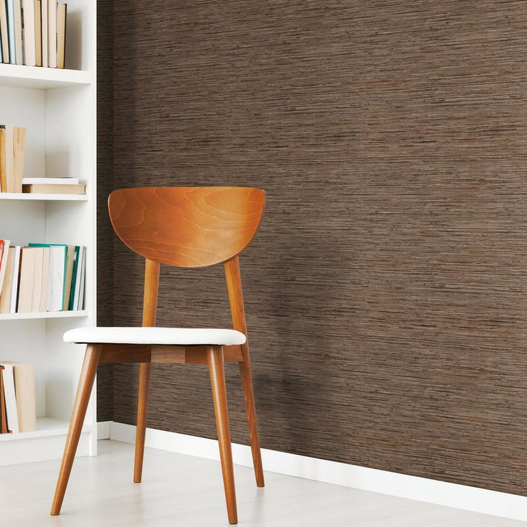 RMK11312WP Brown Grasscloth Peel And Stick Wallpaper RS2