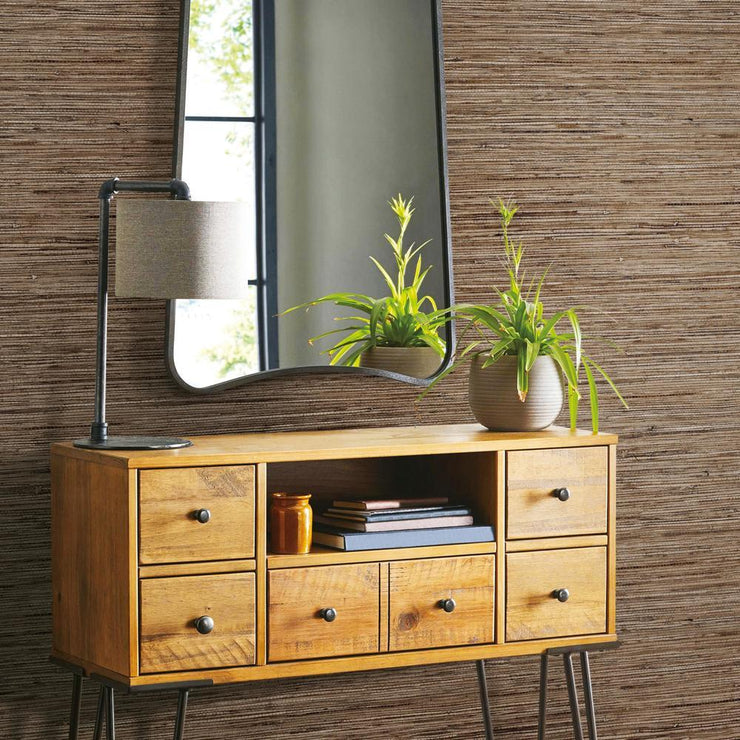 RMK11312WP Brown Grasscloth Peel And Stick Wallpaper RS3