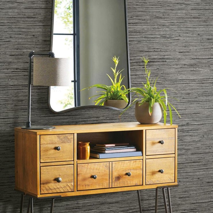 RMK11313WP Dark Gray Grasscloth Peel And Stick Wallpaper RS3