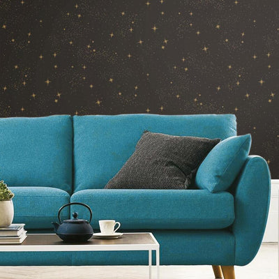 Upon a Star Peel and Stick Wallpaper black roomset