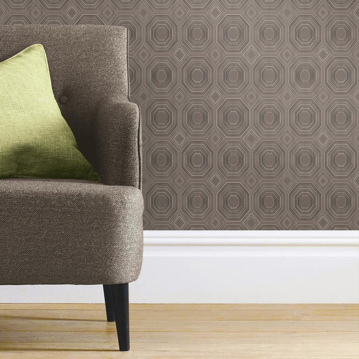 Bee's Knees Peel and Stick Wallpaper gray roomset 2