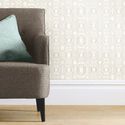 Bee's Knees Peel and Stick Wallpaper tan roomset 3
