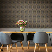 Bee's Knees Peel and Stick Wallpaper black roomset 3