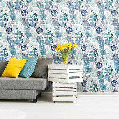 Perennial Blooms Peel and Stick Wallpaper blue roomset