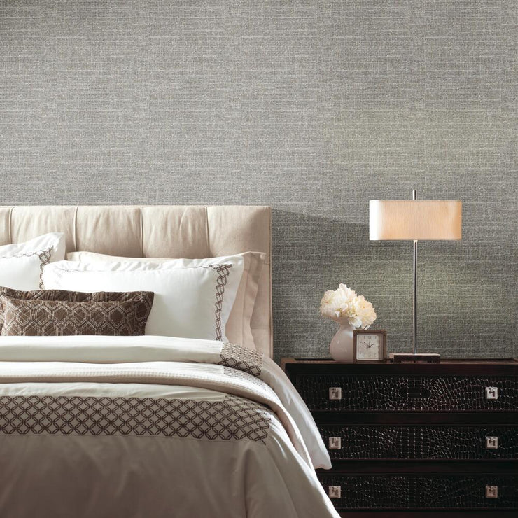Tweed Peel and Stick Wallpaper gray roomset
