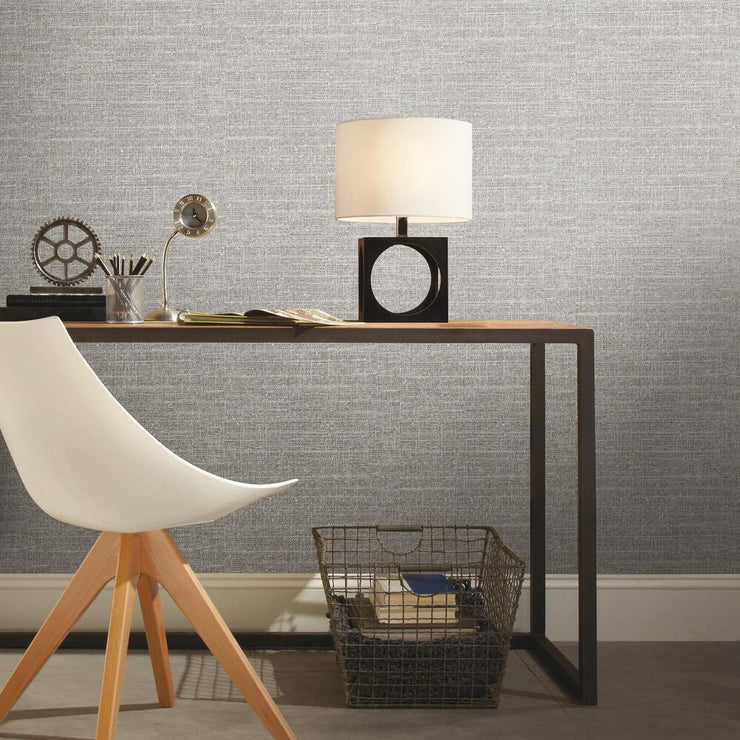 Tweed Peel and Stick Wallpaper gray roomset 2