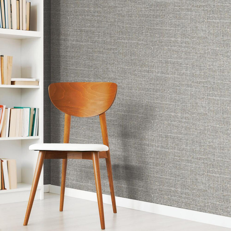 Tweed Peel and Stick Wallpaper gray roomset 3