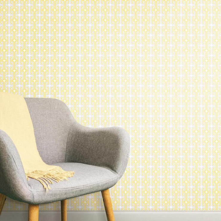Mod Lattice Peel and Stick Wallpaper yellow roomset