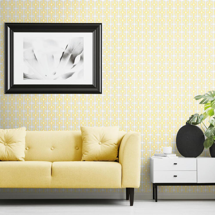 Mod Lattice Peel and Stick Wallpaper yellow roomset 2