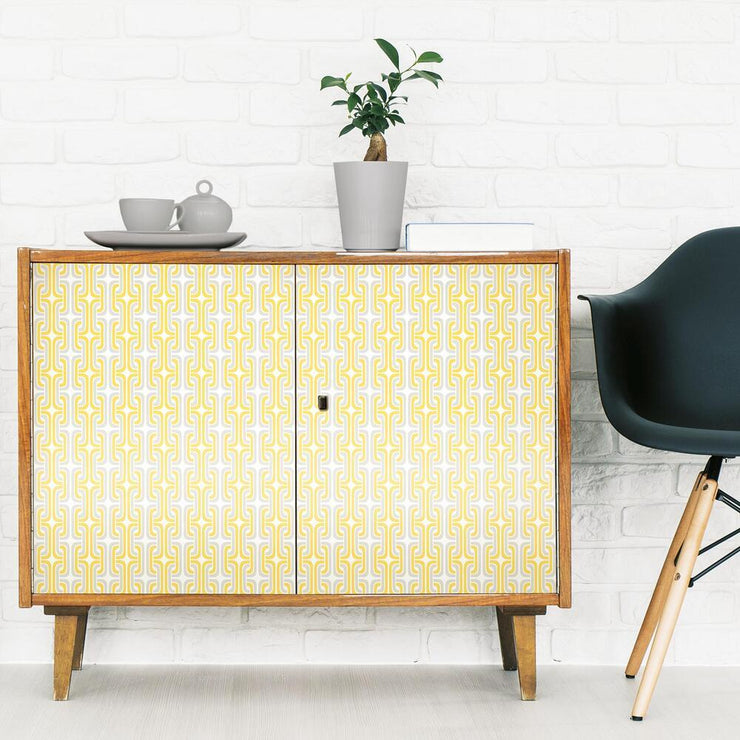 Mod Lattice Peel and Stick Wallpaper yellow roomset 3