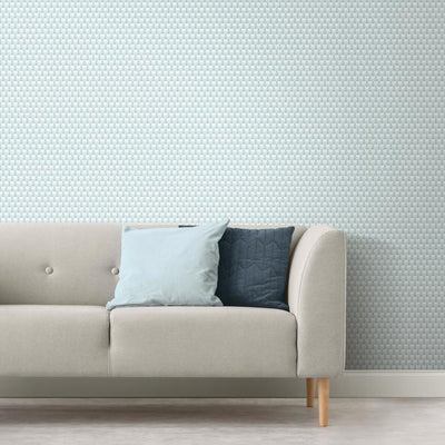 3D Petite Hexagons Peel and Stick Wallpaper blue roomset 2